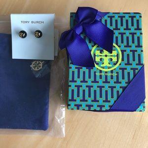 NWT Tory Burch Logo earrings w gift box
